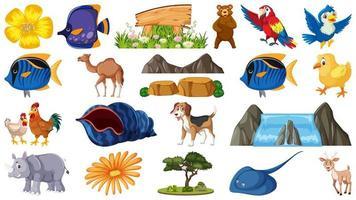 Conjunto de animales y objetos de la naturaleza.