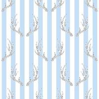 seamless silver glitter antler pattern on blue stripe background