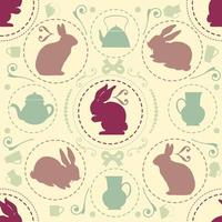 seamless sweet vintage pattern background with rabbit and teapot