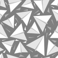 seamless white origami paper rocket pattern on grey background