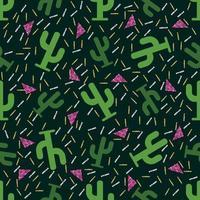 modello di cactus verde senza soluzione di continuità con sfondo glitter
