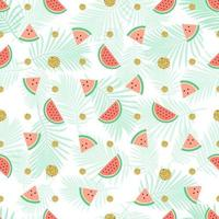 seamless gold dot glitter with watermelon pattern  background