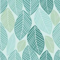 seamless green leaves pattern background vector