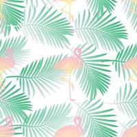 Seamless pattern background  with flamingos and palm leaf