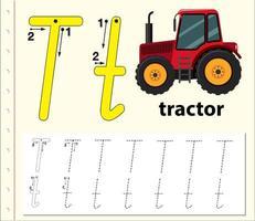 Traccia il modello della lettera T. vettore