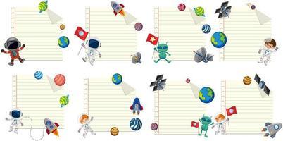Conjunto de plantillas de notas espaciales vector