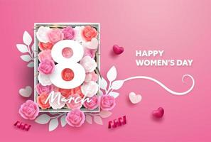 8 March Greeting card. International Happy Women's Day
