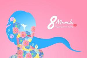 Happy Women Day holiday flower illustration vector