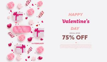 Happy Valentine's Day banner with Red and Pink luxury hearts