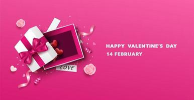 Happy Valentine's Day open Gift Box Design