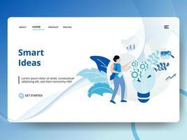 Página de inicio de Ideas inteligentes con trabajador, bombilla y engranajes