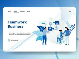 Teamwork Business Landing Page with Workers and Puzzle