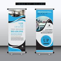 blue rounded shape roll up banner