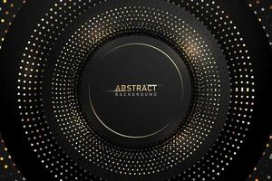 Abstract dark background with gold shiny circle glitter and sparkle elements