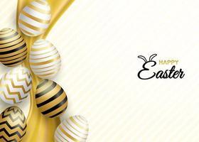 Saludo de celebración de Pascua con huevos de Pascua blancos y dorados