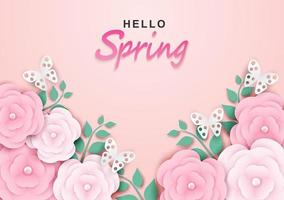 Hello spring sale background vector