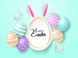 Happy easter celebration message on mint green background