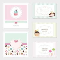 Cute sweets card templates set
