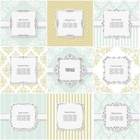 Elegant frame pattern set in blue and beige