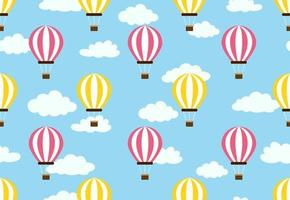 Seamless pattern of hot air balloon on cloud sky background vector