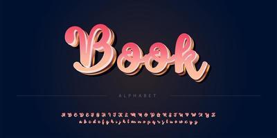 Elegant rose golden color theme bold 3D  alphabet set vector