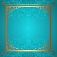 Mandala background with decorative gold border  vector