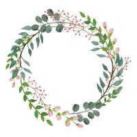 Modern floral wild leaves wreath  vector