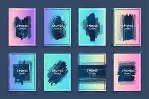 Ensemble de bannières de couverture d'art holographique grunge