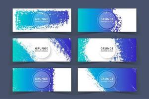 Grunge Kunst-blaue Farben-Fahnen eingestellt