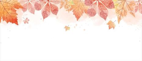 Watercolor drawing of falling red leaves in autumn season.