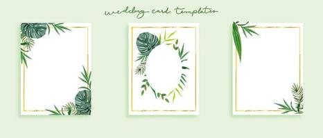 Beautiful set of wedding card templates wild leaves in green theme