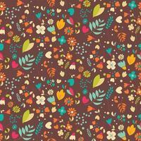 Bohemian hand drawn flowers, seamless pattern vector