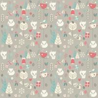Patrón sin fisuras con lindo zorro bebé de Navidad rodeado de decoración floral