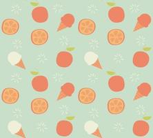 Seamless pattern with hand drawn orange fruit and ice cream