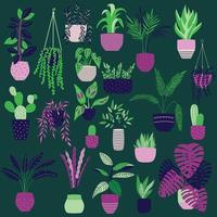 Collection of hand drawn indoor house plants on dark green background