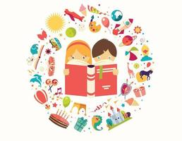 Imagination concept, boy and girl reading a book objects flying out