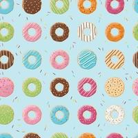 Seamless pattern with colorful tasty glossy donuts