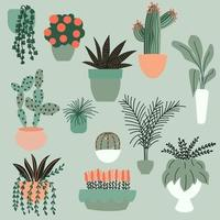 Collection of hand drawn indoor house plants