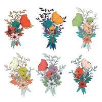 Buquês de flores desenhadas à mão, para convites de casamento e cartões de aniversário