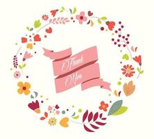 Thank You Hand Drawn Floral Vintage  vector