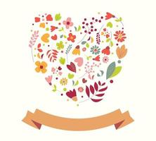 Hand drawn vintage floral heart vector