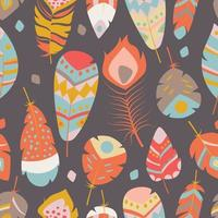 Seamless pattern with boho vintage vibrant feathers