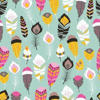 Seamless pattern with boho vintage bright feathers
