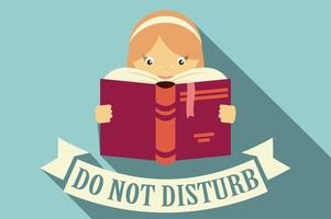 Girl reading a book, do not disturb sign