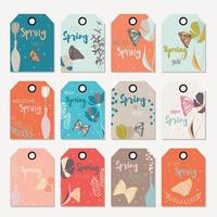 Spring floral gift tag design, with hand drawn flowers vector
