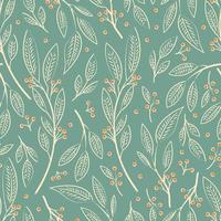 Seamless pattern design with hand drawn leaves and berries