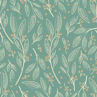 Design sem costura padrão com mão desenhada folhas e bagas