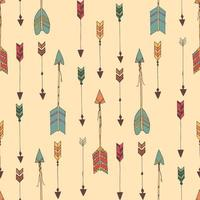 Bohemian hand drawn arrows, seamless pattern vector