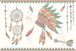 Hand drawn native american dream catcher, beads and feathers vector