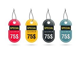 Oval Discount Tag Set vector